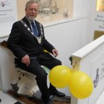 Mayor-Milburn-on-the-stairlift