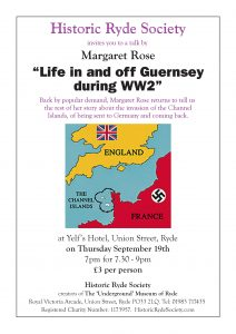 "HRS Talk - Margaret Rose ""Life in and off Guernsey during WW2"" @ Yelf's Hotel"